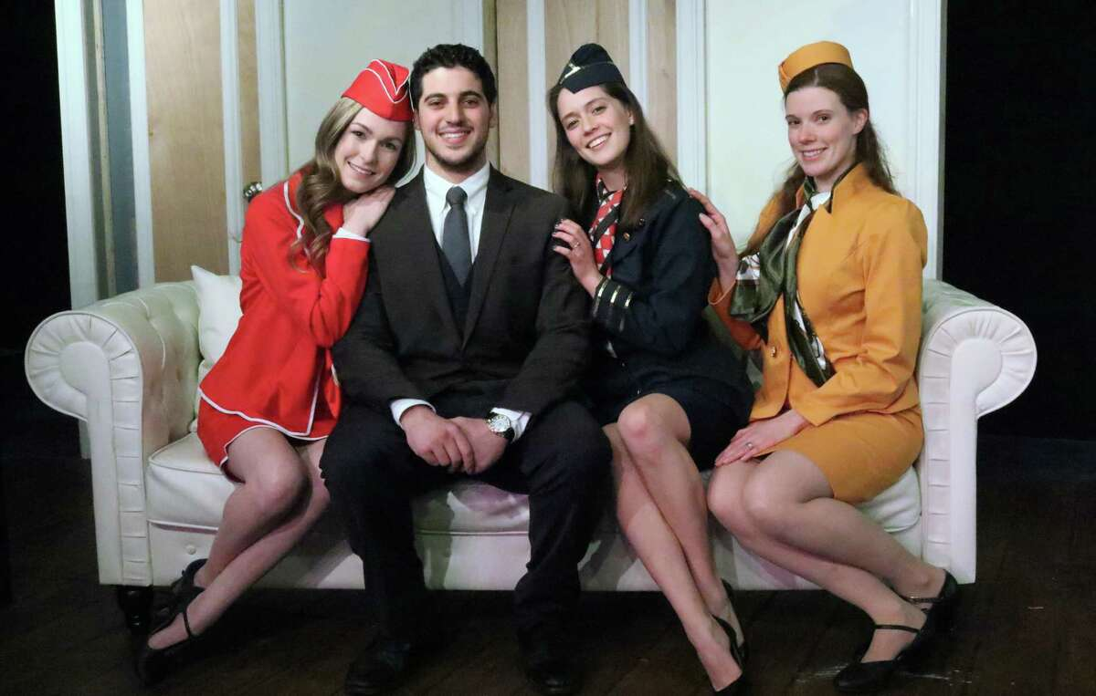 """Meaghan Elliot, left, Jesse Latoracca, Monica Harrington and Sarah Sherwood star in """"Boeing, Boeing,"""" onstage at Curtain Call's Dressing Room Theatre in Stamford through March 17. Curtain Call was the top fundraiser in the annual Giving Day campaign run by Fairfield County's Community Foundation for the sixth straight year"""