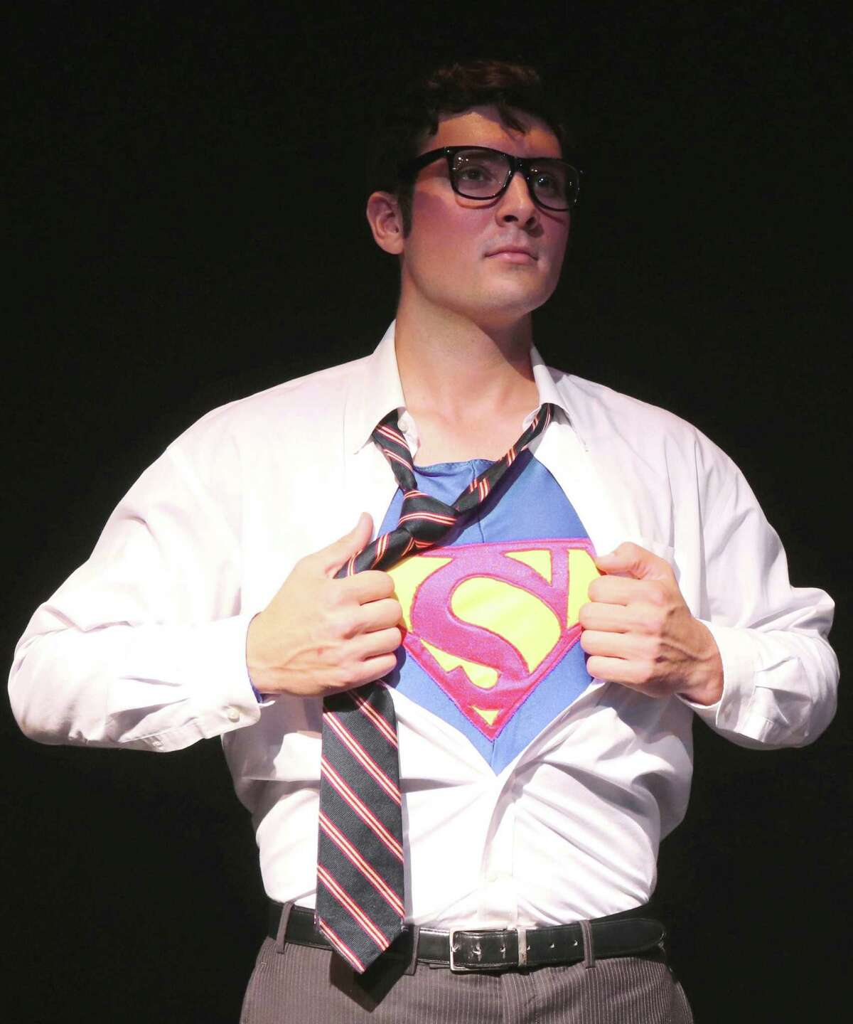 """John Schule plays Clark Kent and Superman in """"Superman, the Musical,"""" at Curtain Call's Kweskin Theatre last year. Curtain Call was the top fundraiser in the annual Giving Day campaign run by Fairfield County's Community Foundation for the sixth straight year"""