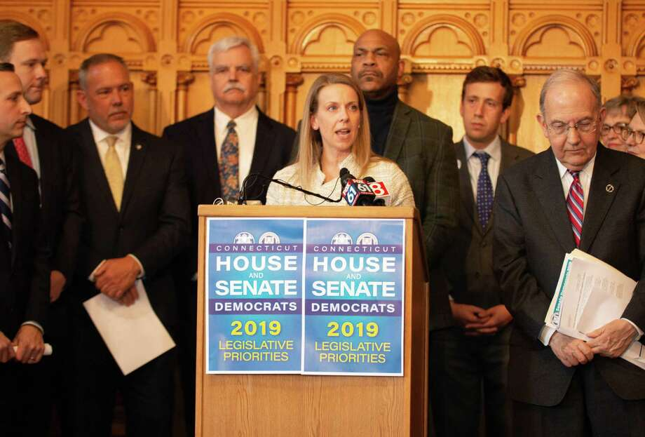 State Sen. ChristineCohen(D-Guilford)joinedDemocratic House and Senate leadership in the Connecticut General Assembly to announce joint priorities for the 2019 legislative session. The legislative package focuses on establishing a paid family and medical leave program, raising the minimum wage, investing in job training and the state's workforce pipeline, supporting small businesses, making prescription drugs more affordable, creating a Green New Deal for Connecticut and increasing access to the ballot box. Photo: Contributed Photo