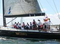 The Tiburon, a sailboat owned by San Antonian Mark Watson, III, CEO of Argo Group, prepares to compete in the Newport-Bermuda sailboat competition last summer.