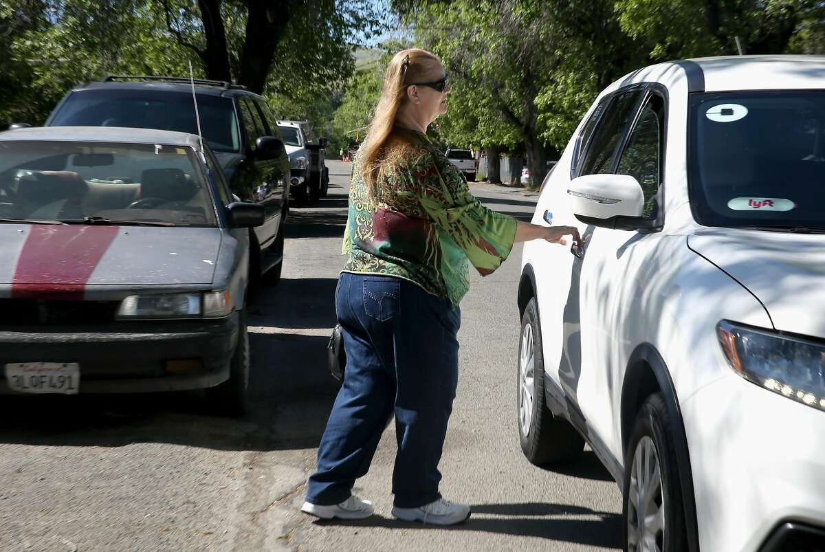 Linda Tollefson, who had a stroke 5.5 years ago, uses Lyft driver to go to the grocery market on Tuesday, May 8, 2018 in Baypoint, Calif. Tri Delta Transit (in western CoCo County) subsidizes rides on Uber, Lyft and a taxi company for disabled people who otherwise would use the paratransit busses.
