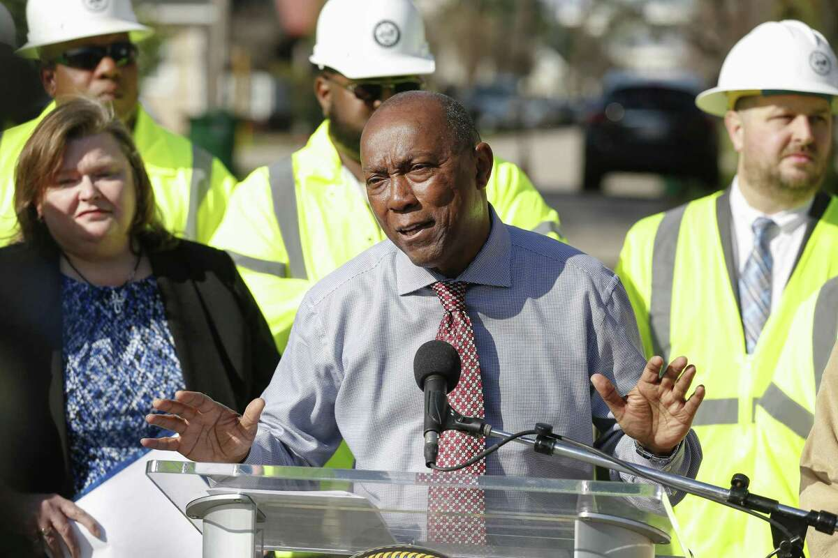"""Mayor Sylvester Turner, pictured Monday, Feb. 18, 2019, has warned that a bill limiting franchise fees telecommunication and cable companies pay cities would have """"a huge adverse impact"""" on Houston."""