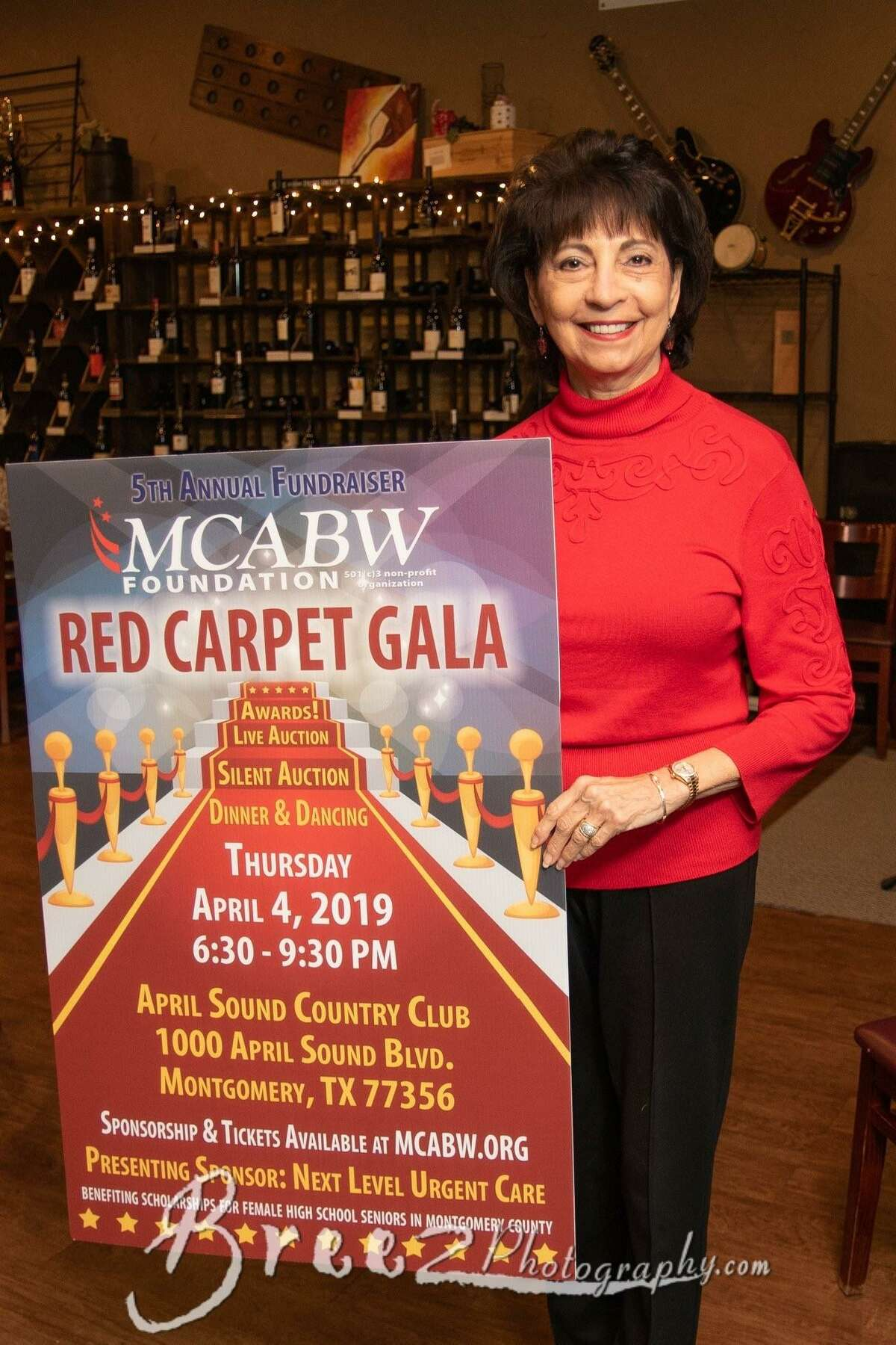 """The Montgomery County Association of Business Women (MCABW) invites you to the 5th annual MCABW Foundation Fundraiser """"The Red-Carpet Gala"""" benefiting scholarships for female high school seniors attending school in Montgomery County. It will be held on April 4, 2019 from 6:30 pm to 9:30 p.m. at the April Sound Country Club, 1000 April Sound Blvd, Montgomery, TX 77356.Pictured is Carol Gooch, theExecutive Director and Founder of MCABW."""