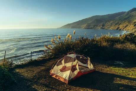A tent looks out at the sea in Big Sur, Calif.