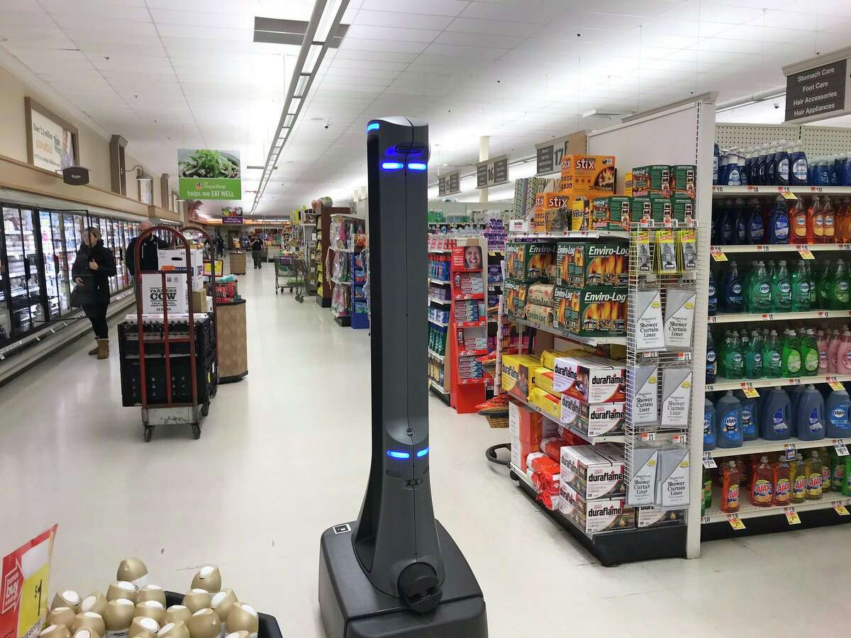 Marty the robot seen at a Connecticut Stop & Shop.