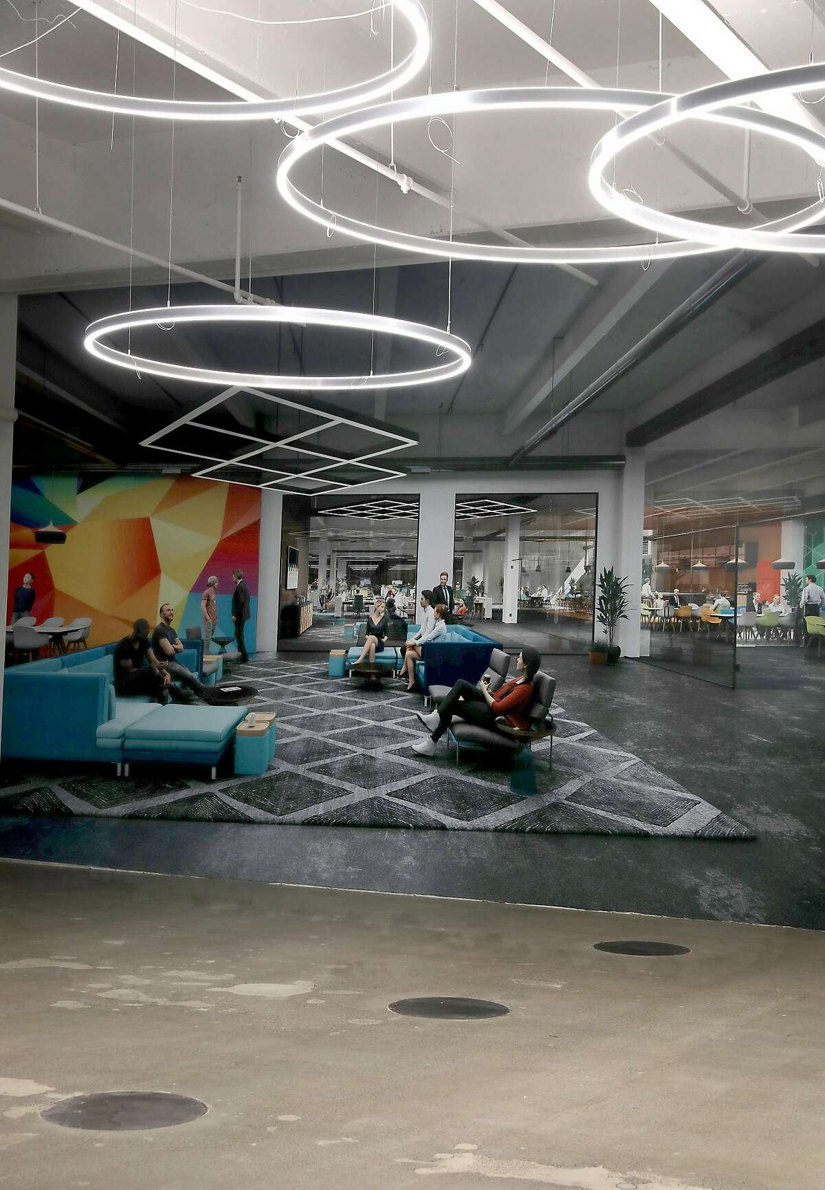 Rendition seen of what the former underground bank vault at 1455 Market St. might look like as it is being converted into office space on Tuesday, Feb. 26, 2019, in San Francisco, Calif.