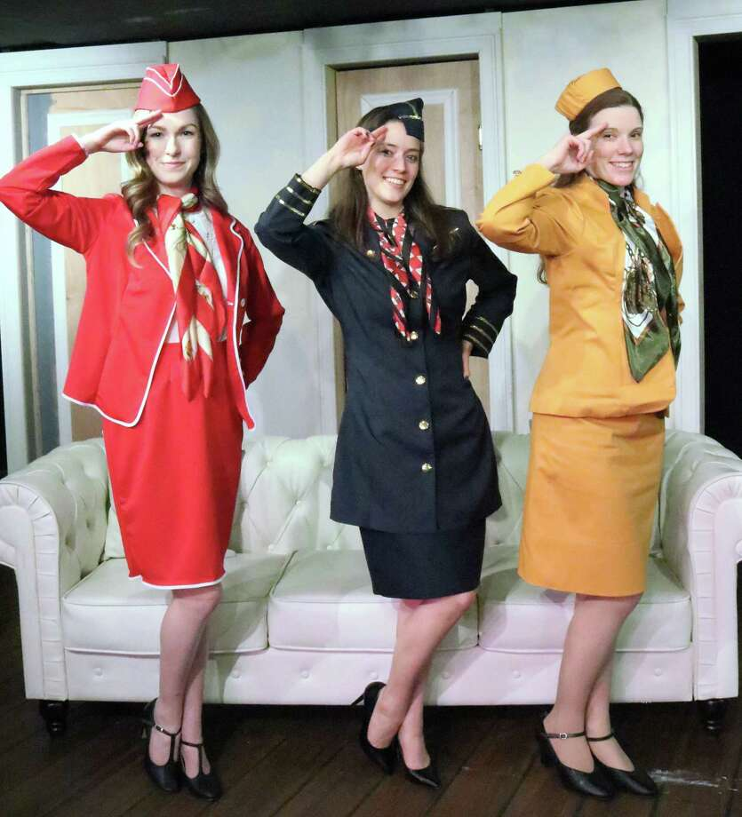 """Meaghan Elliot, left, Monica Harrington and Sarah Sherwood from the cast of """"Boeing, Boeing"""" during Curtain Call's run of the show though mid-March in Stamford, Conn. Curtain Call raised $135,000 in donations on the annual Fairfield County's Giving Day on Feb. 28, 2019. Photo: Lou Ursone / Contributed Photo /"""
