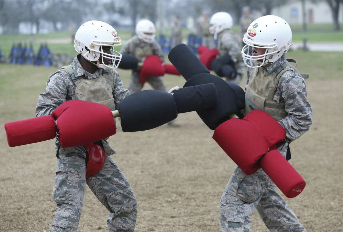Trainees learn hand to hand combat moves as Joint Base San Antonio-Lackland trainees go through the BEAST program, part of their basic military training, on February 6, 2019.