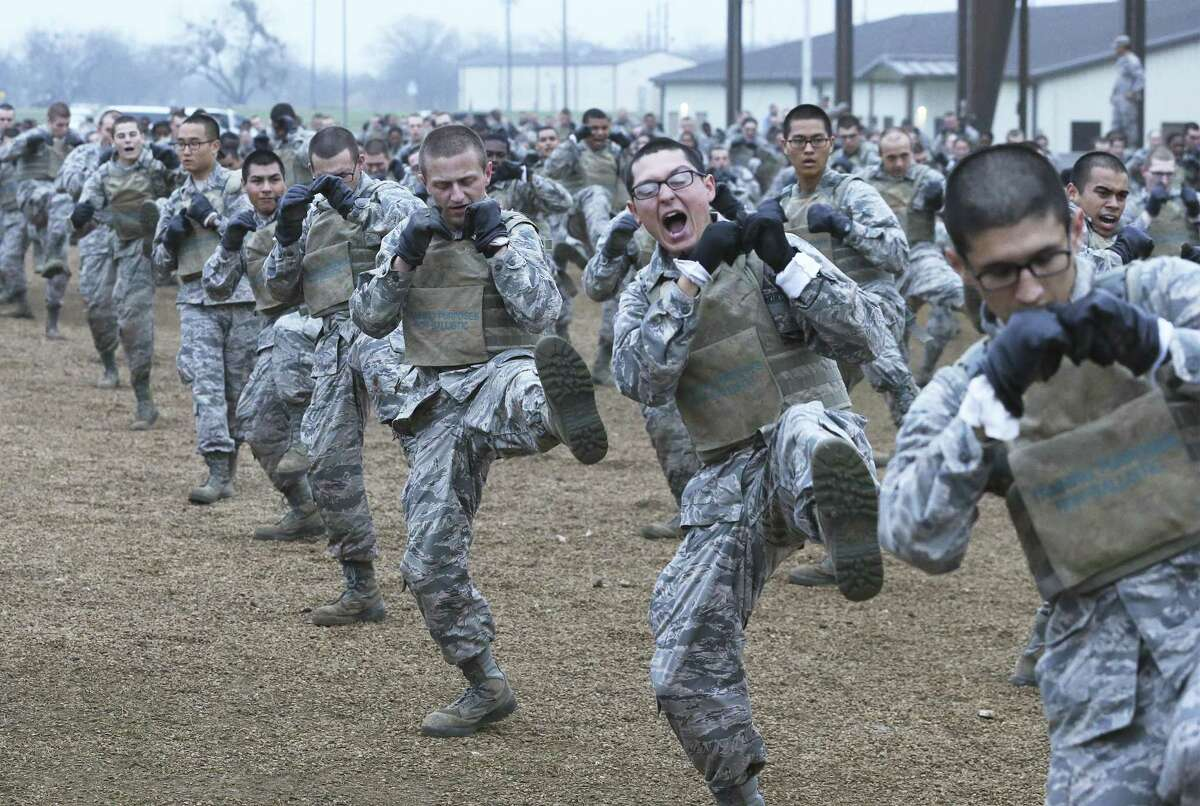 Trainees exercise with combat moves as Joint Base San Antonio-Lackland trainees go through a combatives course, part of the BEAST program in their basic military training on Feb. 6, 2019.