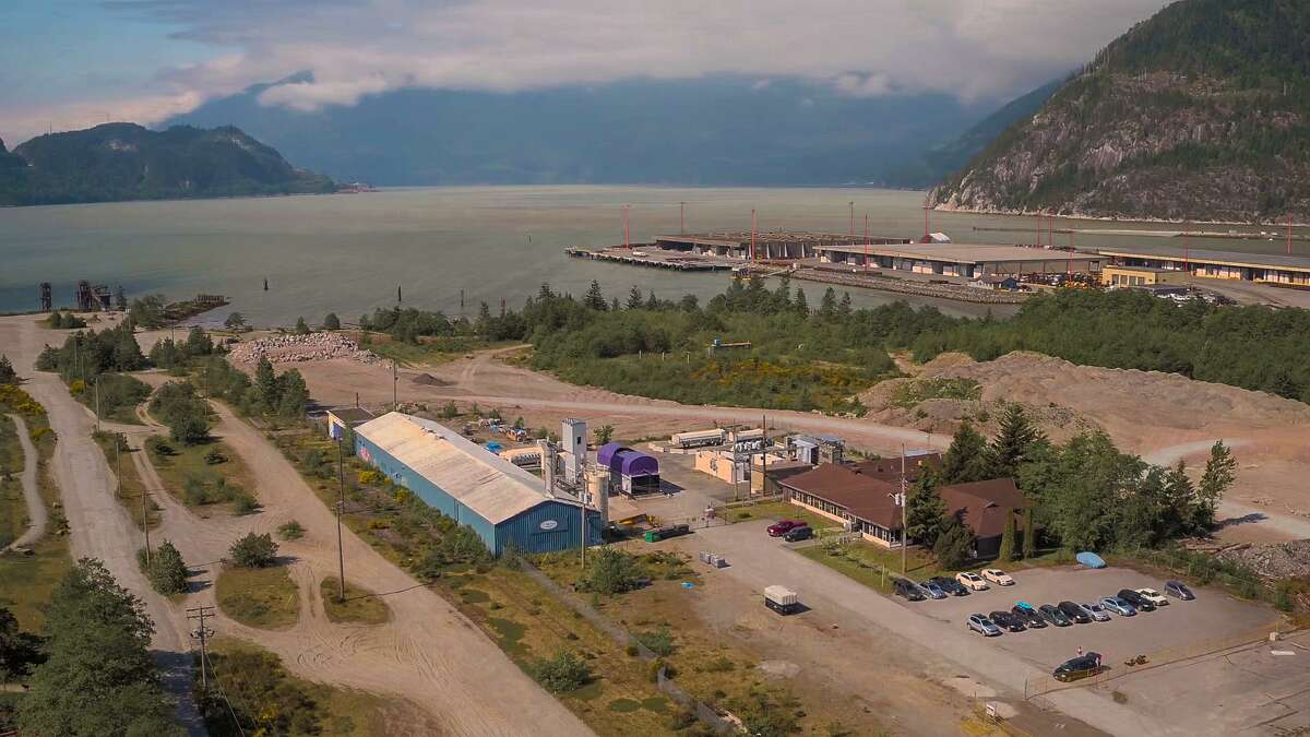 An aerial shot of Carbon Engineering's pilot direct air capture plant north of Vancouver.