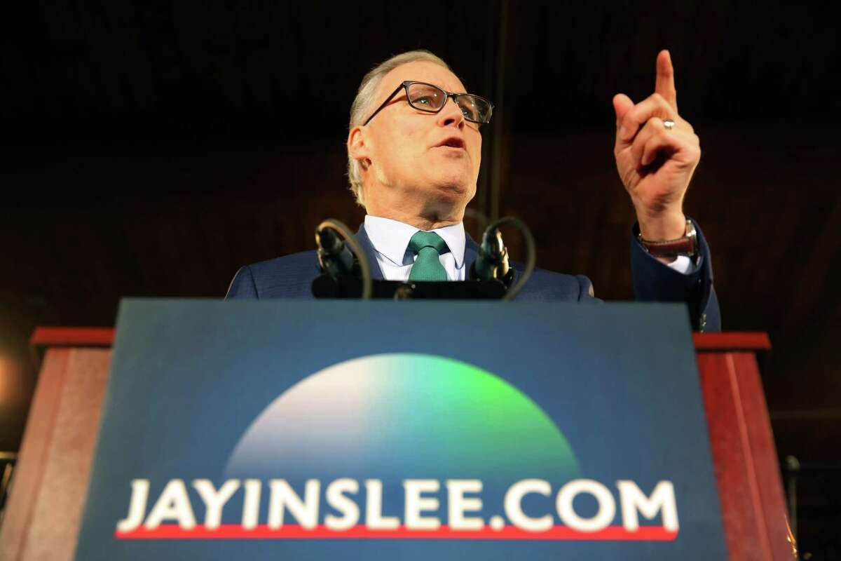 Washington State Governor Jay Inslee announces his candidacy for President of the United States, Friday, March 1, 2019. He has failed to gain traction in the race, took in $3 million in second quarter of 2019. Better than other also-rans.
