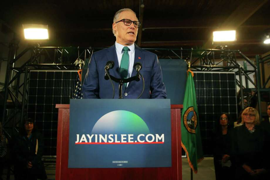 Washington State Governor Jay Inslee announces his candidacy for President of the United States, Friday, March 1, 2019 at A&R Solar in Mount Baker..  The Legislature has just moved Washington's 2020 presidential primary to the first Tuesday in March, giving Inslee delegates to harvest if his campaign is still viable.  Photo: Genna Martin / seattlepi.com