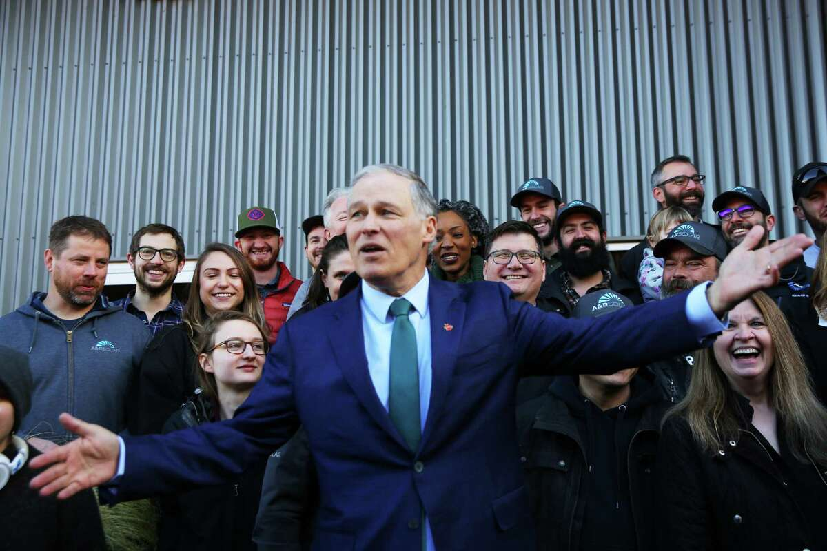 March 1, 2019 - Washington State Governor Jay Inslee announces his candidacy for President of the United States, at A&R Solar in Mount Baker. He pledged to make climate change his number one priority.