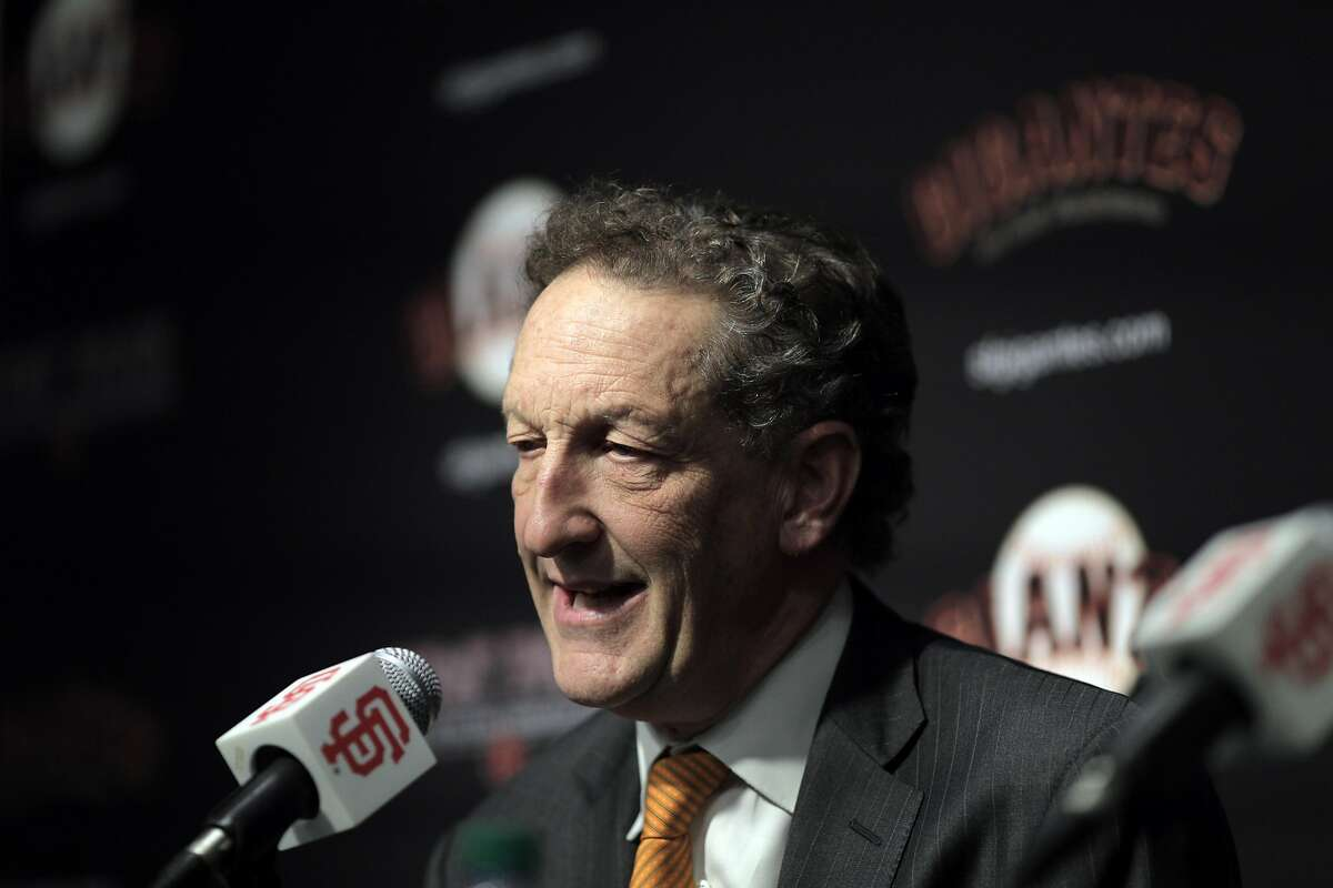 Giants CEO Larry Baer introduced Farhan Zaidi as the new president of baseball operations during a press conference at AT&T Park, in San Francisco, Calif., on Wednesday, November 7, 2018.