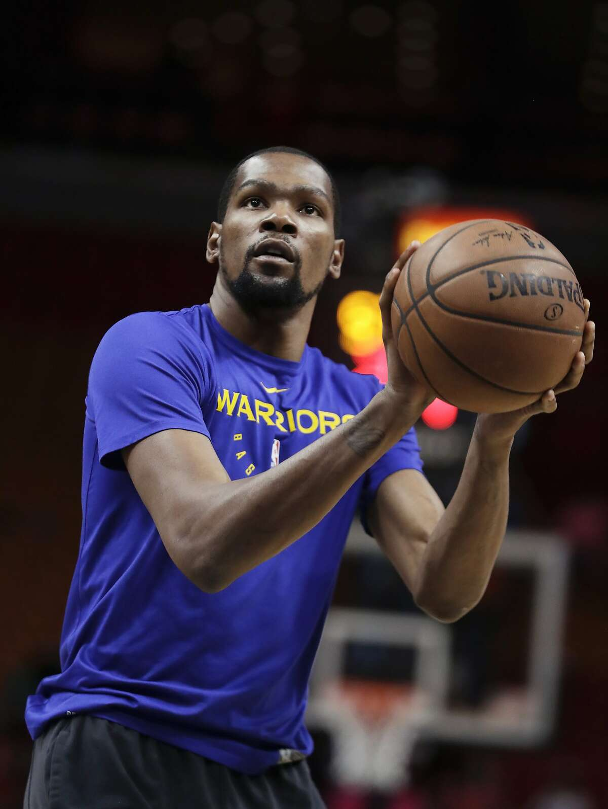 Golden State Warriors forward Kevin Durant (35) in action during practice before an NBA basketball game Wednesday, Feb. 27, 2019, in Miami.