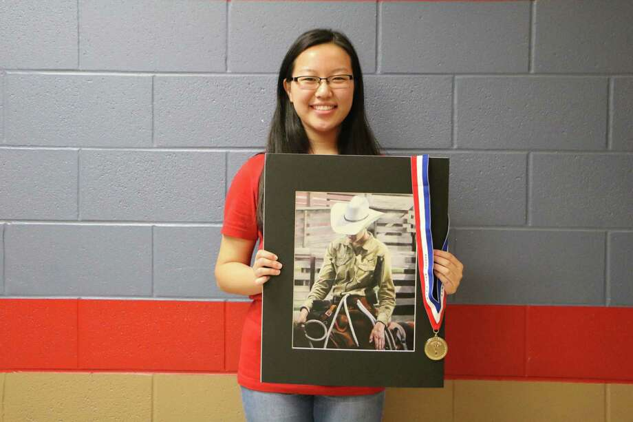 Dawson High School senior Helen Wang is a reserve class champion at the 2019 Houston Livestock Show and Rodeo's annual rodeo art program