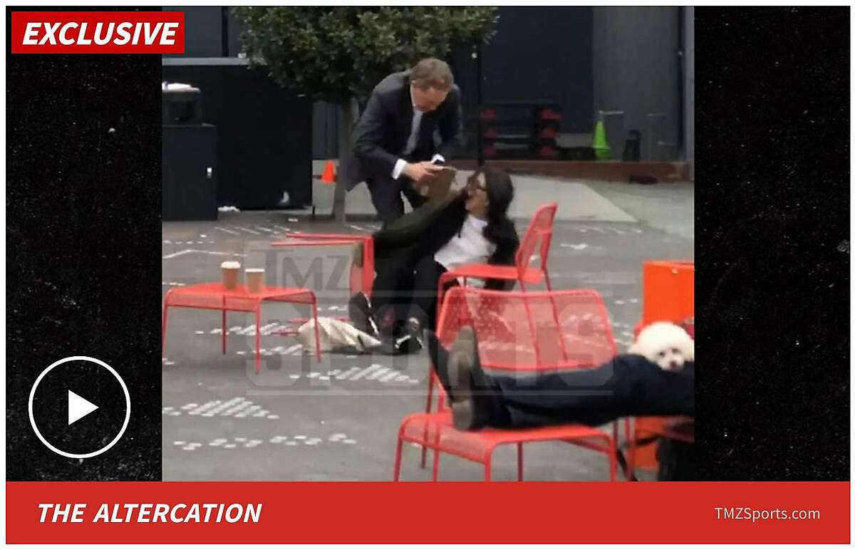 A screenshot from TMZSports.com purports to show San Francisco Giants' president Larry Baer in a physical altercation with his wife, Pamela, on Friday, March 1, 2019 in San Francisco, Calif.