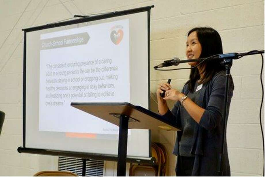 Marilyn Lee, executive director of Loving Houston, gives a presentation on how church-school partnerships help both entities reach their goals together. Photo: Loving Houston
