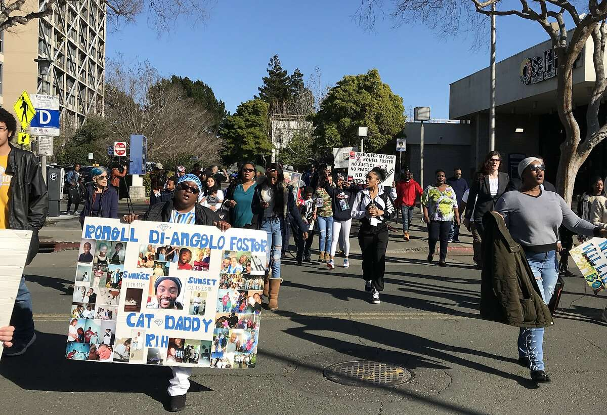 After a press conference at Vallejo City Hall on Feb. 28, people marched through the streets to protest the death of Willie McCoy, who as slain by Vallejo police officers on Feb. 9.