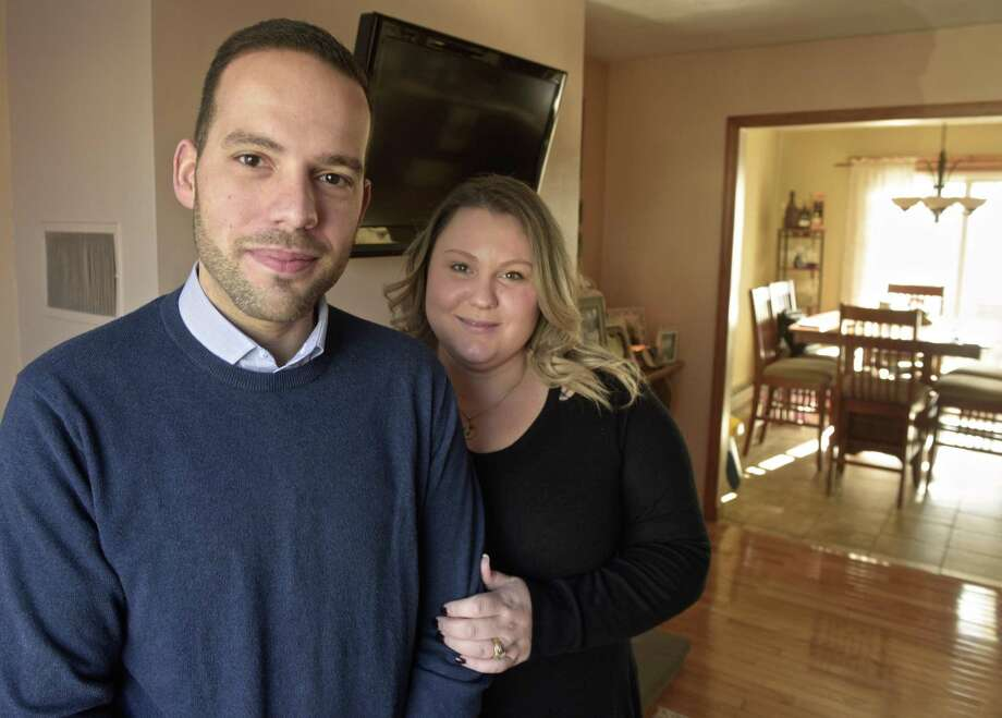 Democratic school board member Farley Santos and his wife, Kathleen Santos, have started a scholarship foundation in memory of their son, Landon Jack Verissimo Santos, who died shortly after his birth last summer. The group will offer one Danbury High grad and one Abbott Tech grad college scholarships this fall. Thursday, February 28, 2019, Danbury, Conn. Photo: H John Voorhees III / Hearst Connecticut Media / The News-Times