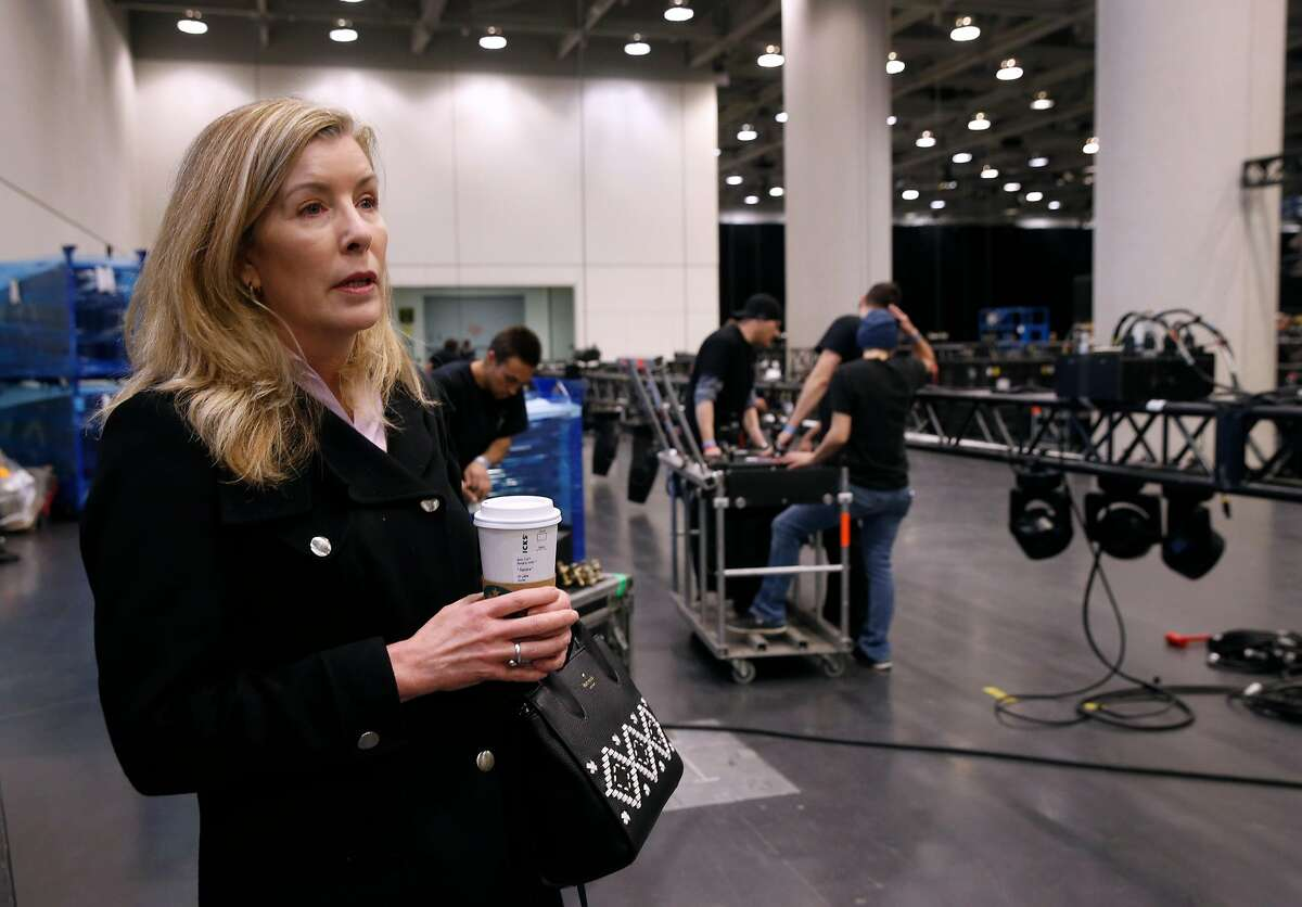 Sandra Toms, vice president and architect of the RSA Conference, watches a construction crew prepare the keynote auditorium at Moscone Center in San Francisco, Calif. on Friday, March 1, 2019.