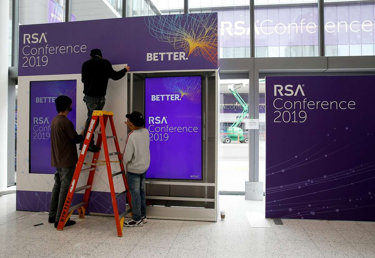 An assembly crew prepares a display for the RSA Conference at Moscone Center in San Francisco, Calif. on Friday, March 1, 2019.