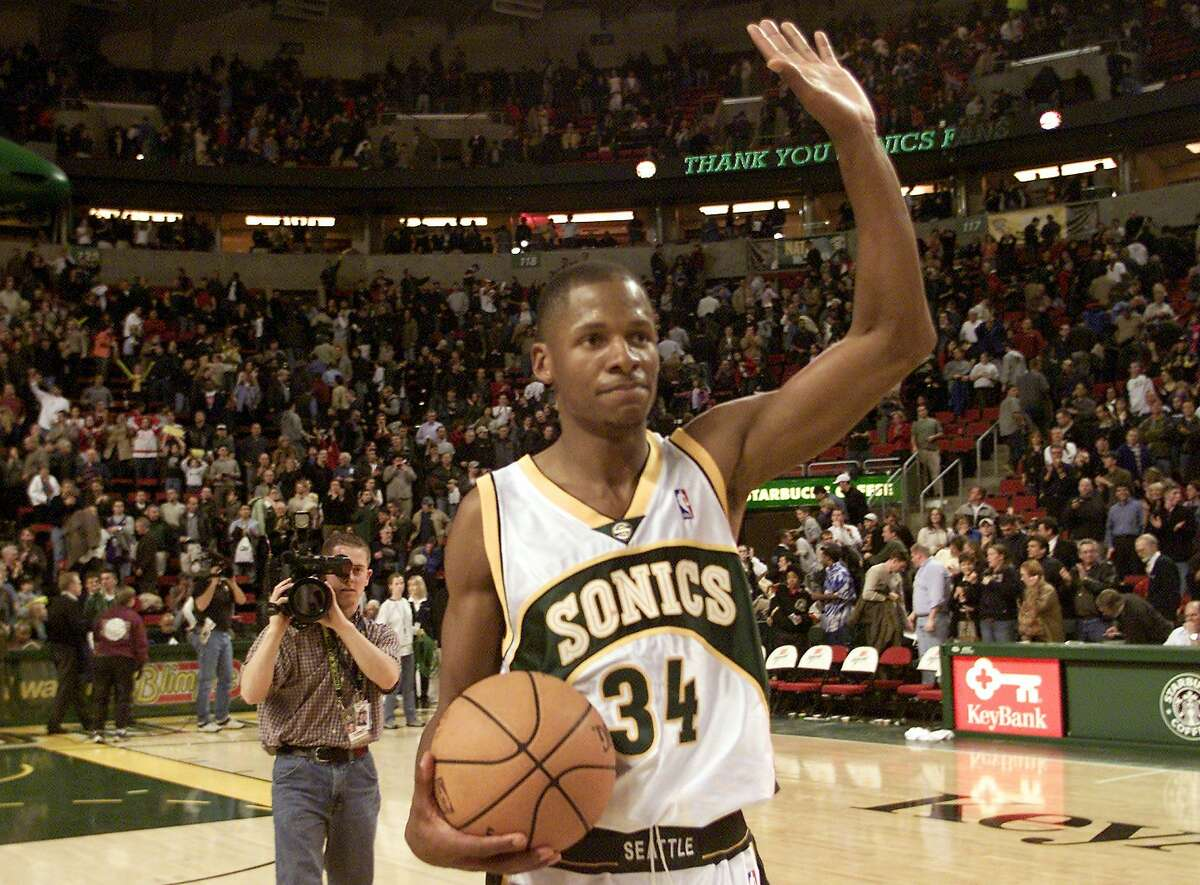 FILE -- Seattle SuperSonics' Ray Allen waves to the crowd after the Sonics' 86-79 win over the Detroit Pistons in Seattle, Monday, Feb. 24, 2003. The game was also Allen's debut on the home court. (AP Photo/John Froschauer)