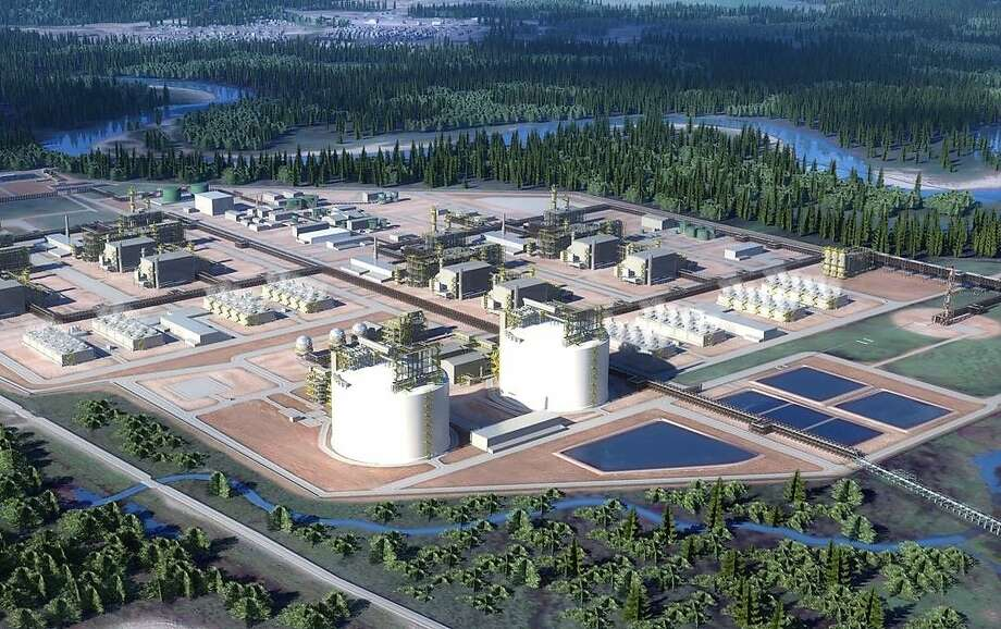 The LNG Canada export terminal in Kitimat, British Colombia is a joint venture between Shell, Petronas, PetroChina, Mitsubishi and KOGAS. LNG Canada will begin with the construction of two production units known as trains that will be able to make a combined 14 million metric tons of LNG per year. Houston oilfield service company Baker Hughesis providing four of its LMS100-PB natural gas turbines and eight centrifugal compressors for the project. Photo: Courtesy Photo, LNG