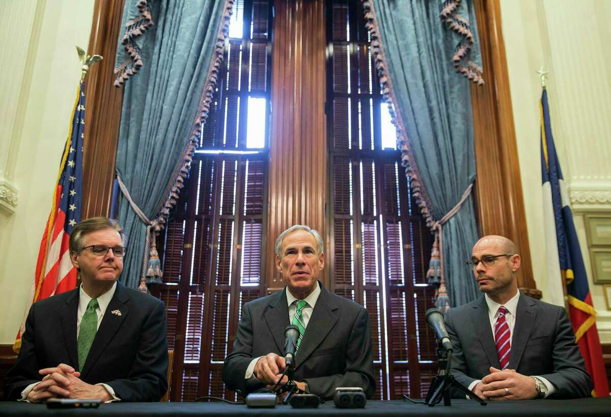 Gov. Greg Abbott, center, Lt. Gov. Dan Patrick, right, and Speaker Dennis Bonnen have made property tax relief a priority this session.