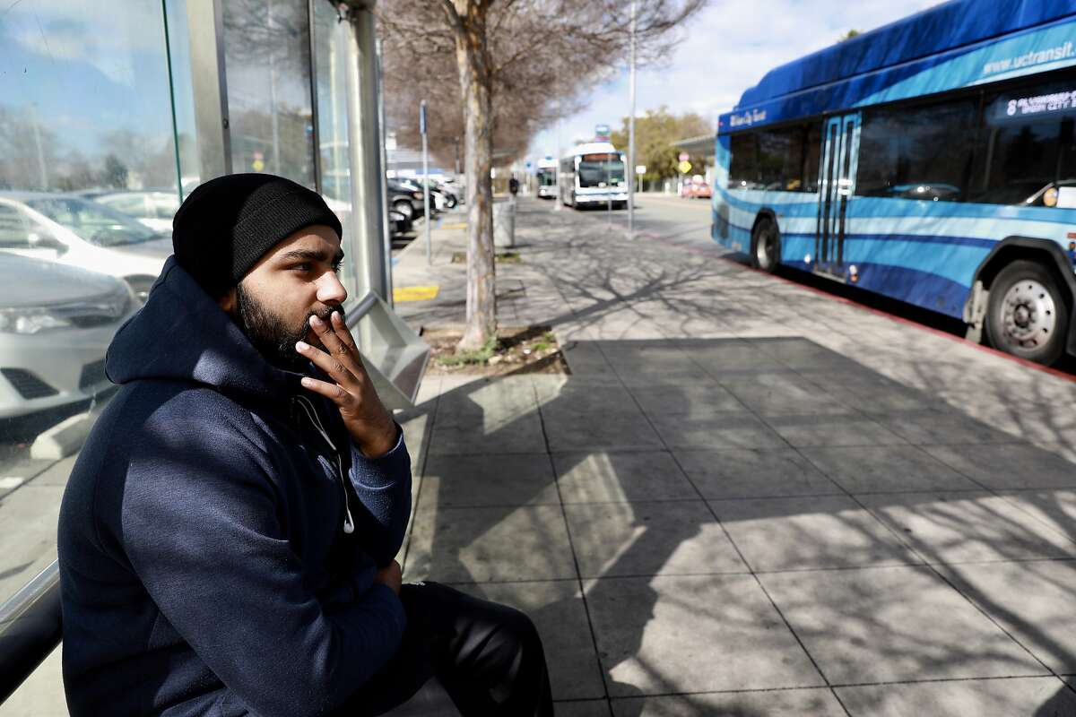 Prince Chahal waits for a bus at the Union City BART Station, located at 10 Union Square, in Union City, Calif., on Thursday, February 28, 2019.