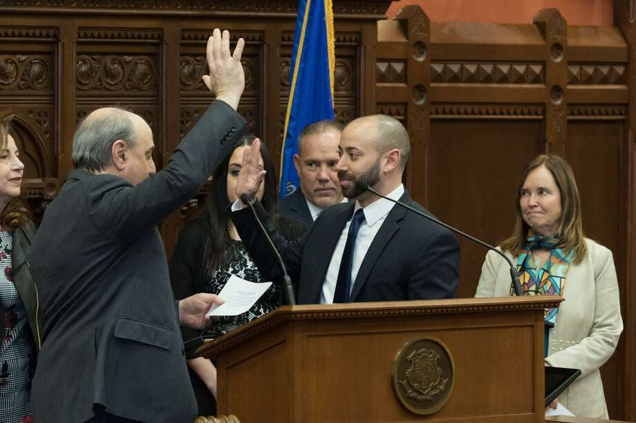 New state Rep. Joe Zullo, R-East Haven, takes the oath of office March 1. Photo: Contributed Photo / CT House Republicans
