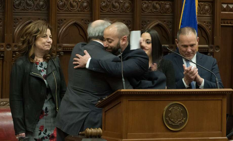 New state Rep. Joe Zullo, R-East Haven, took the oath of office  March 1. Photo: Contributed / CT House Republicans /