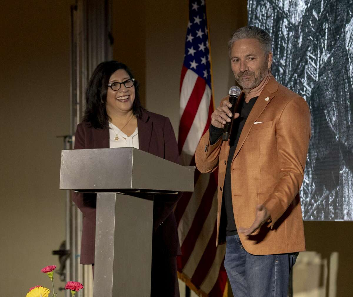 Sondra and Toby Eoff talked about the Odessa Marriott which will open in late summer. The State of Downtown Odessa Address was Thursday Feb. 28, 2019 in the Rose Building.