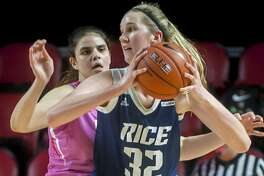 Rice center Nancy Mulkey, posting up against Western Kentucky forward Raneem Elgedawy, has come a long way to be the Owls starting center.