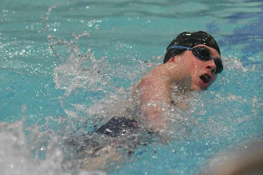James Bragg-Phillips of Bunnell/Stratford competes in the 200yd freestlye during the SWC Swimming Championships held on Friday March 1, 2019 at Masuk High School in Monroe, Connecticut. Photo: Gregory Vasil / For Hearst Connecticut Media / Connecticut Post Freelance