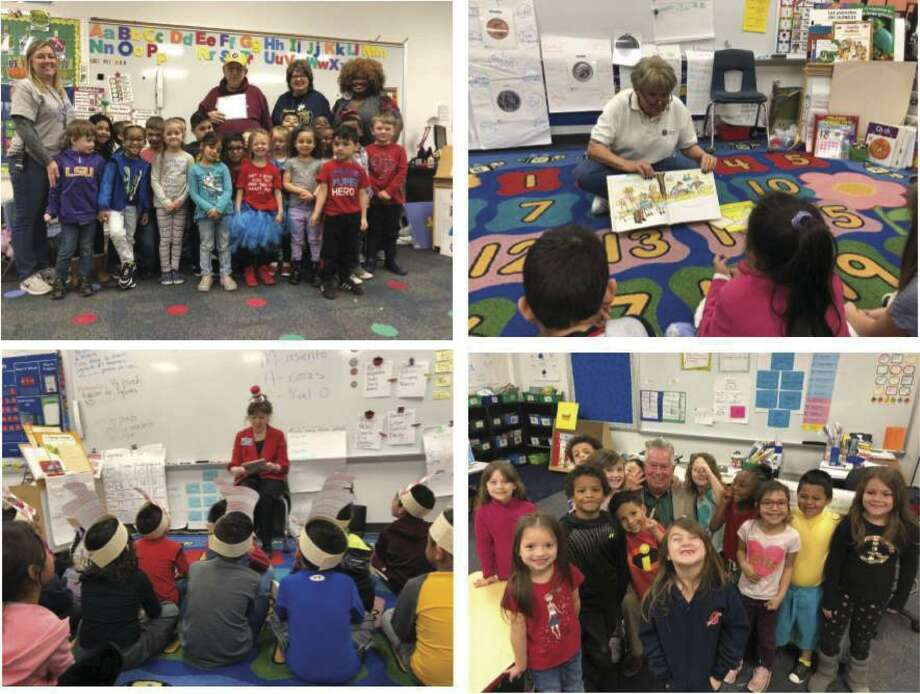 Members of the Conroe Noon Lions Club spent last Friday at their adopted school - Reaves Elementary reading to each of the classes in celebration of Dr. Seuss' birthday and the Read Across American program.