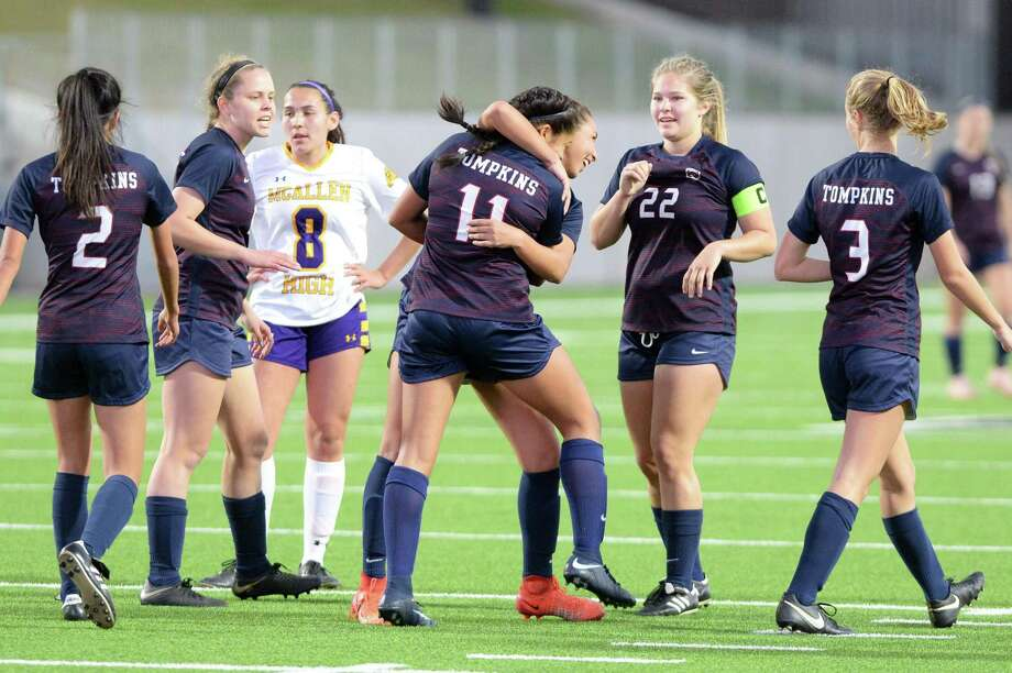 Tompkins players celebrate a goal by Felicia Hernandez (11) during the second half of a high school soccer game between the Tompkins Falcons and the McAllen Bulldogs in the I-10 Shootout on Saturday, January 12, 2019 at Legacy Stadium, Katy, TX. Photo: Craig Moseley, Houston Chronicle / Staff Photographer / ©2019 Houston Chronicle