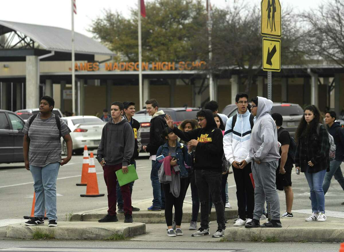 Students leave James Madison High School after school on March 1, 2019. A recent graduate, Kaitlin Leonor Castilleja, was stabbed outside a house earlier that day. A current student is accused of murder. A second recent graduate, Vivian Foster, was also stabbed but survived.