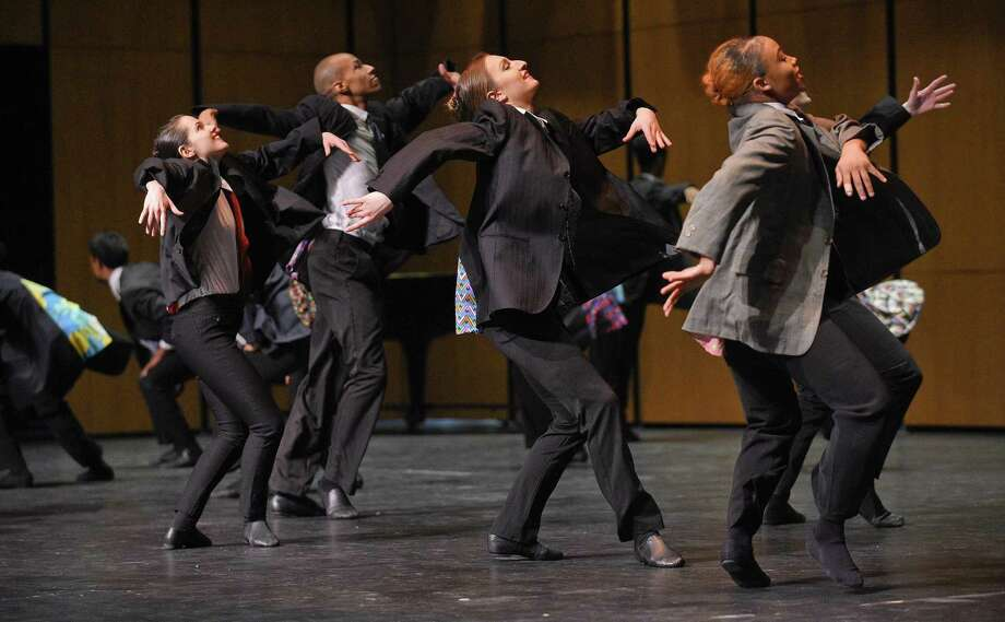 Performer's from the Ailey School of The Alvin Ailey American Dance Theater perform for Greenwich High School students at the school's Performing Arts Center on March, 1, 2019 in Greenwich, Connecticut. The dancers combine a unique blend of ballet, jazz, and West African styles of dance in their performance that highlighted the schools finale event of Diversity Awareness Week activities. Photo: Matthew Brown / Hearst Connecticut Media / Stamford Advocate