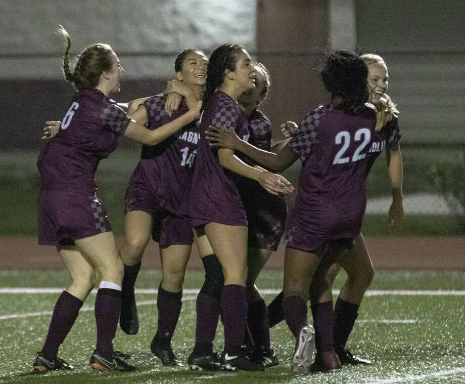 The Lady Bulldogs celebrate with Magnolia freshman Tate Perugini (14) after she scored in the second half of a District 19-5A girls soccer match Friday, March 1, 2019 at Bulldog Stadium in Magnolia. Photo: Cody Bahn, Houston Chronicle / Staff Photographer / © 2018 Houston Chronicle