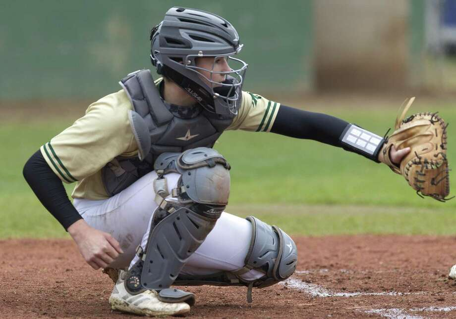 The Woodlands Christian Academy catcher Austin Boyd (15) had two hits and two RBIs on Tuesday night. Photo: Jason Fochtman, Houston Chronicle / Staff Photographer / © 2019 Houston Chronicle