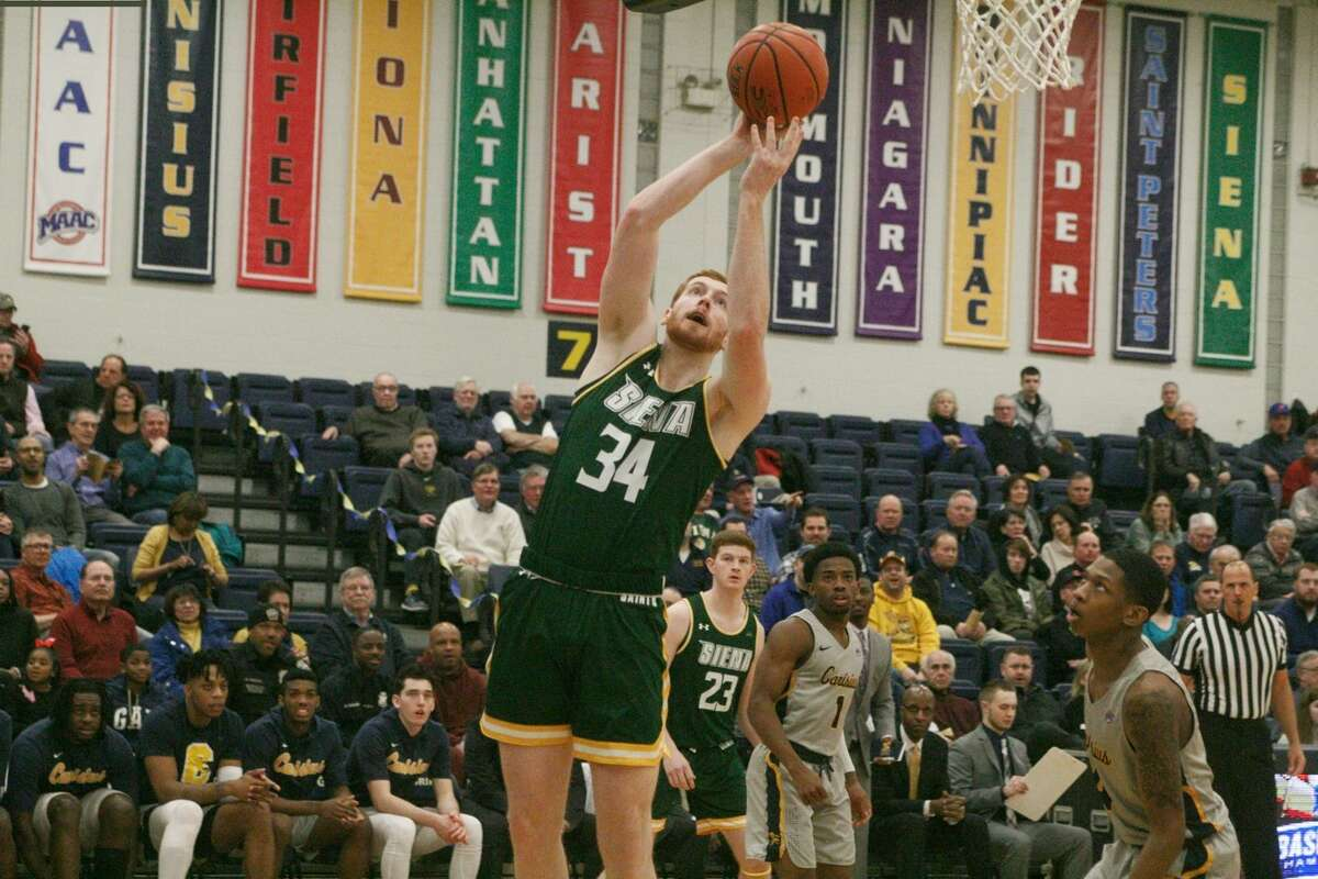 Kevin Degnan of Siena goes up for a basket against Canisius at Koessler Athletic Center on Friday, March 1, 2019. (Paul Battson / Special to the Times Union)