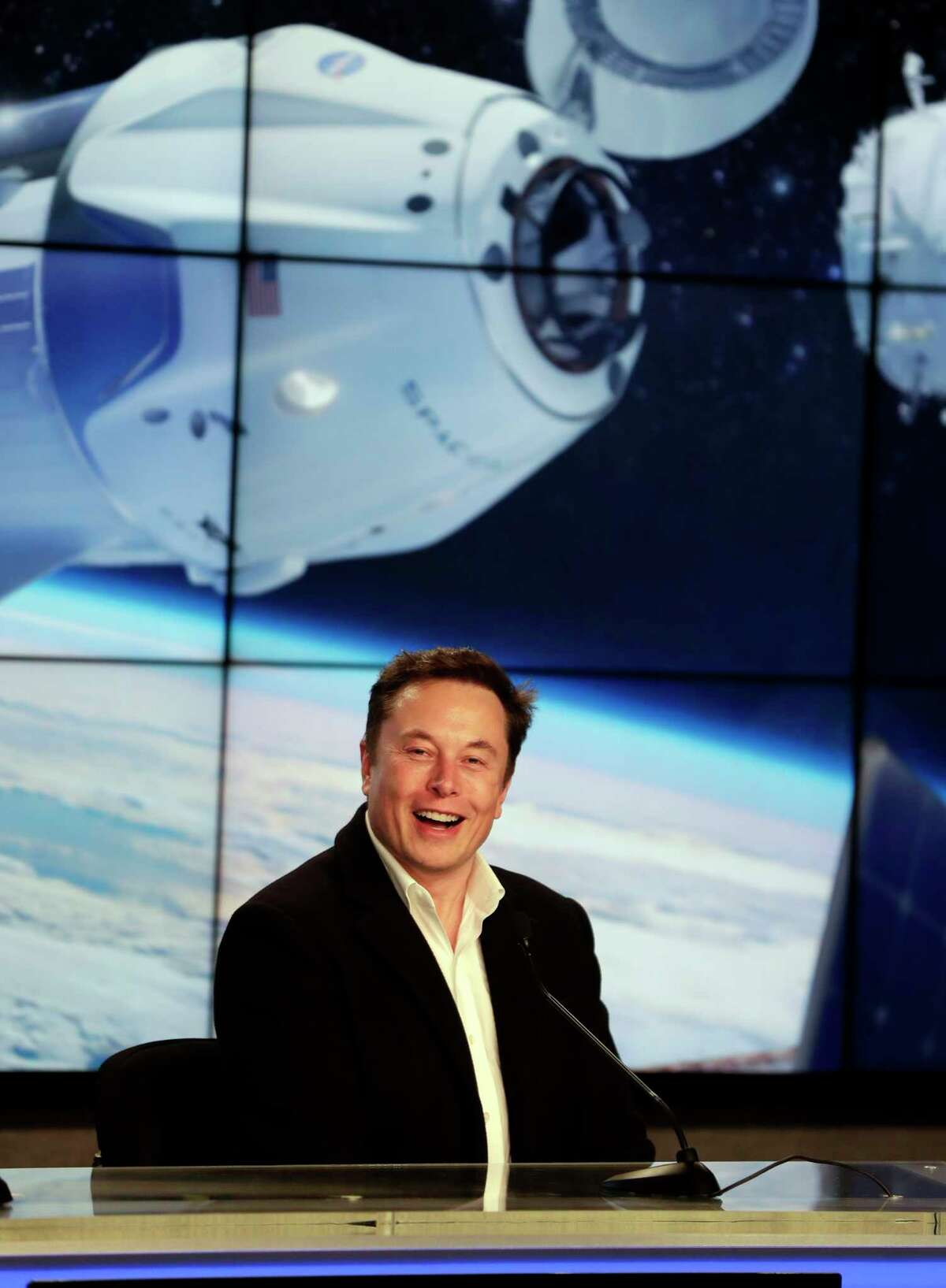Elon Musk, CEO of SpaceX, speaks during a news conference after the SpaceX Falcon 9 Demo-1 launch at the Kennedy Space Center in Cape Canaveral, Fla., Saturday, March 2, 2019.