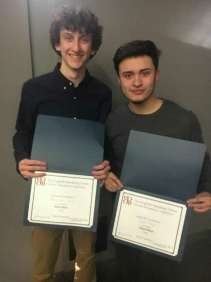 ACES ECA seniors Ethan Balfour Clark and Erian Diaz, who placed first and third respectively in the Connecticut Shakespeare Competition. Photo: Contributed Photo