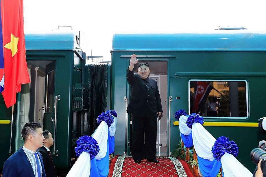 North Korean leader Kim Jong Un waves before boarding his train at the Dong Dang railway station in Vietnam. Nuclear disarmament talks between Kim and President Trump broke down Thursday. Photo: Vietnam News Agency