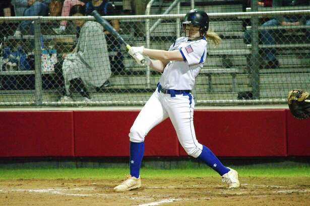 Friendswood's Bayleigh Lay (17) is one of many potent bats in the Lady Mustang softball lineup.