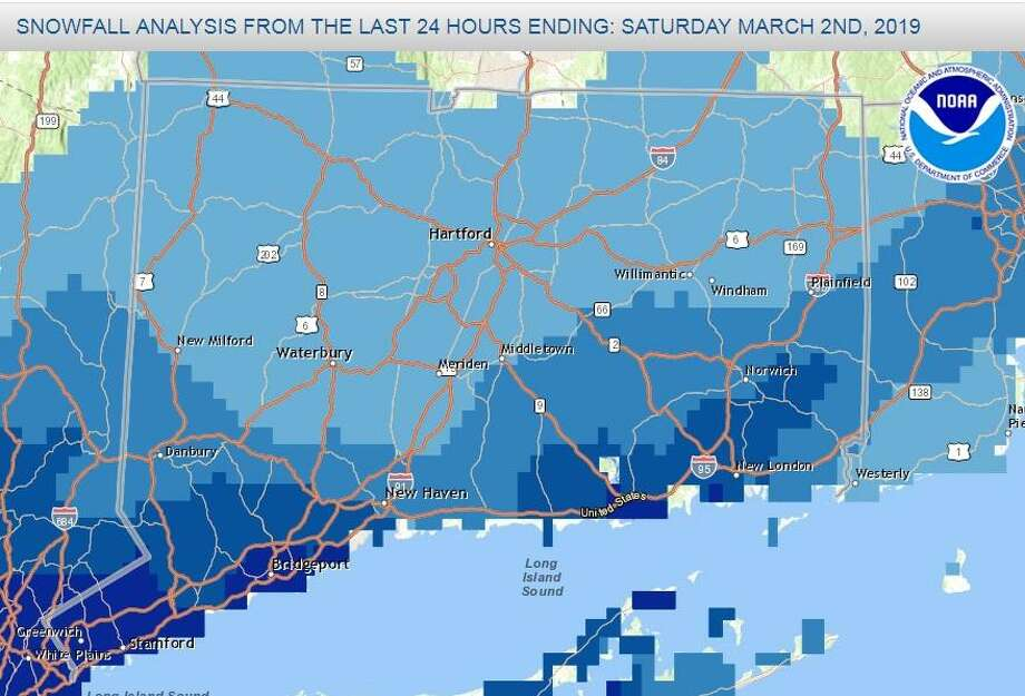 Snow totals for Connecticut on Saturday morning. Photo: National Weather Service