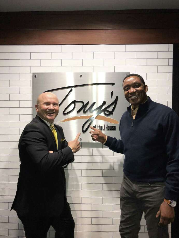 Tony Capasso, owner of Tony's at the JHouse in Riverside, meets up with former NBA star Isiah Thomas at Tony's last weekend. Photo: Contributed /