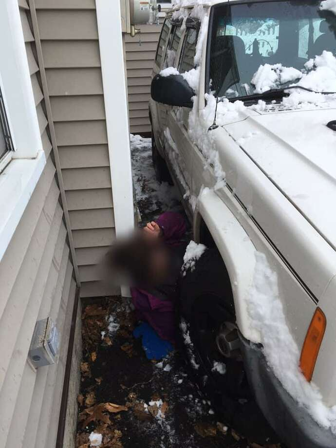 The East Haven Fire Department helped a woman on Estelle Road on Saturday morning who fell and became trapped between her house and her car. Photo: East Haven Firefighters Local 1205