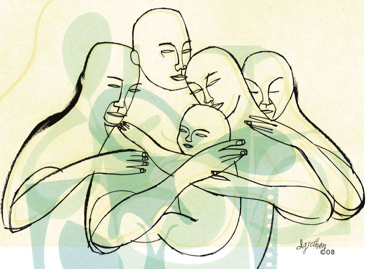 This artwork by Donna Grethen relates to family values.